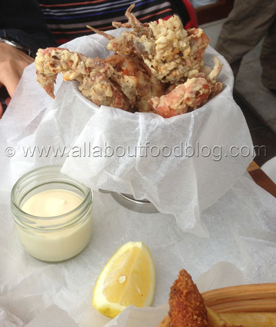 Bucket of crisp fried soft shell crab