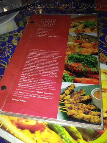 Sinma Laksa House Menu