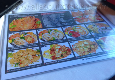 Harry's Singapore Chilli Crab Menu