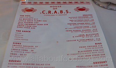 House of Crabs Menu