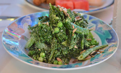 Kale, Bean, and Broccoli Salad with spiced sunflower seeds