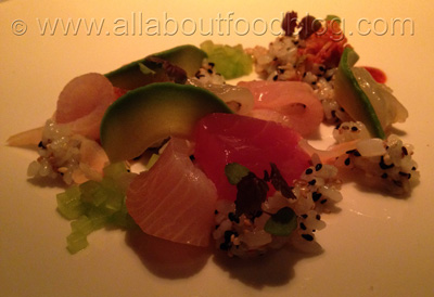 chirashi zushi of squid, prawn, kingfish and tuna