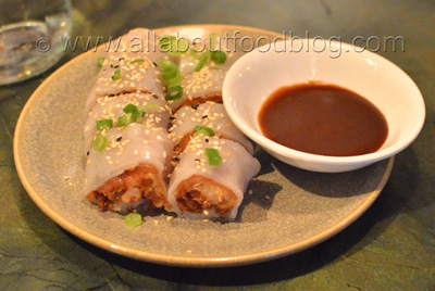 Prawn and crispy dough rice roll