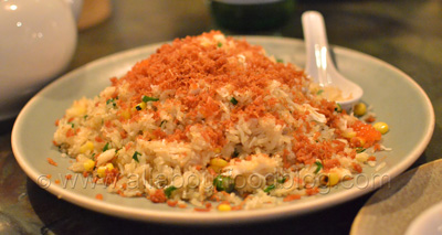 King crab and sweetcorn fried rice, trout roe and crispy conpoy - $29