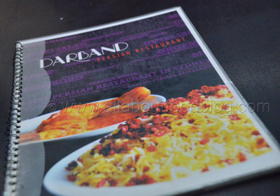 Darband Persian Restaurant Menu