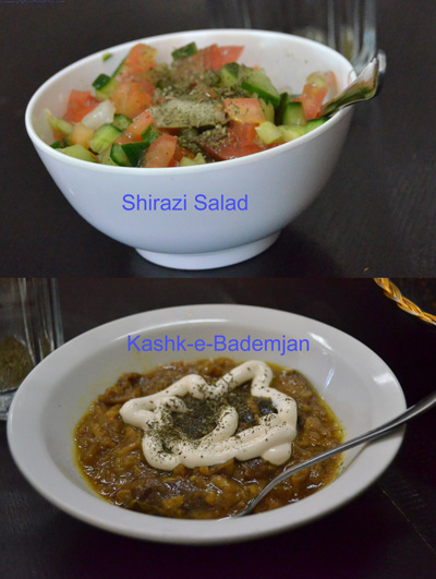 Shirazi Salad and kashk-e-Bademjan
