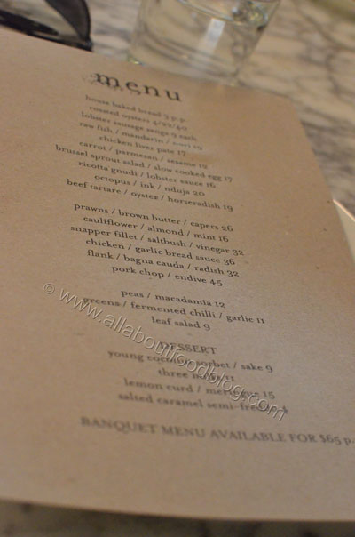 Ester Restaurant and Bar Menu