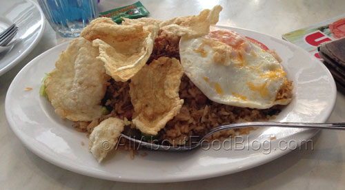 Nasi Goreng Babat - $11.90 – Indonesian style fried rice with beef tripe and tomato slices