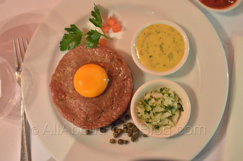 Sel & Poivre steak tartare, seared or non seared with frites, salad and bearnaise sauce