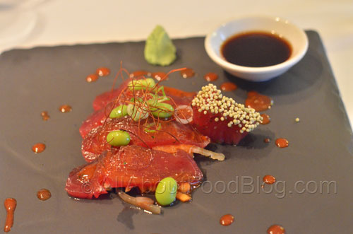 Spicy Tuna Sashimi – Spicy Miso Marinated Fresh Sashimi Tuna, Mixed Beans, Herbed Salad