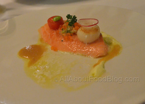 Salmon & Scallop – Roasted Salmon, Grilled Scallop, Yuzu Mascarpone, Orange Miso