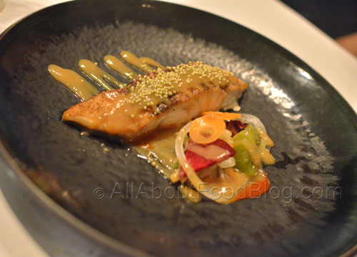Barramundi – Steamed Saltwater Barramundi, Herbed Salad, Plum and Chilli Miso