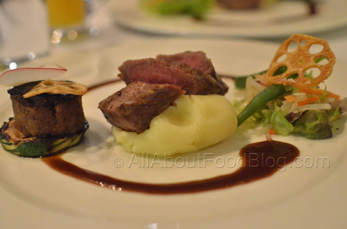 Lamb Duo – Braised Lamb Shoulder, Grilled Back Strap Fillet, Mash Potato, Balsamic Soy