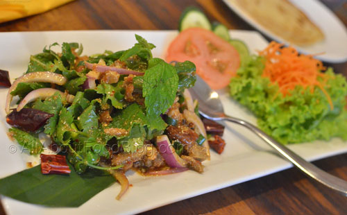 Larb Bhet – Minced baked boneless duck sprinkled with lemon juice and just a touch of chilli, garnished with mint leaves - $16.90