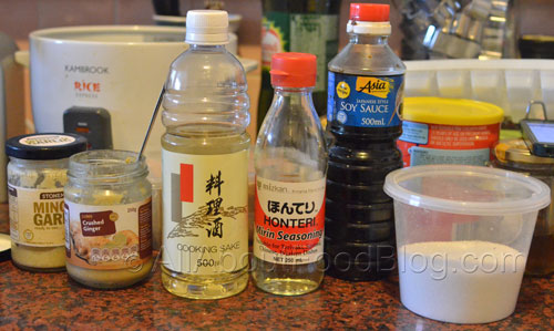 Ingredients for making Japanese Chashu Beef