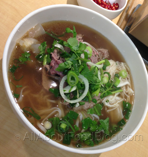 Pho topped with beef combination by An Restaurant