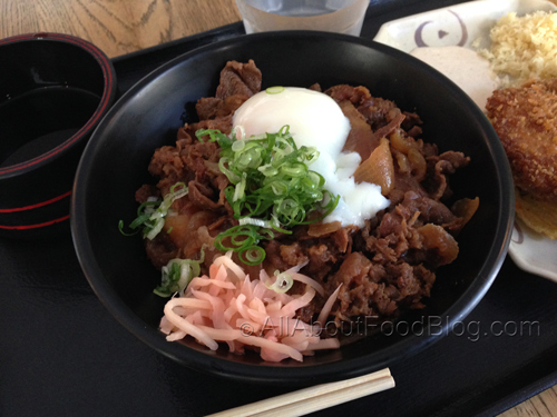 Ontama Stewed Beef – Half boiled egg on Plain Stewed Beef Bowl (lots of stewed beef & pickled ginger on rice - $6.90
