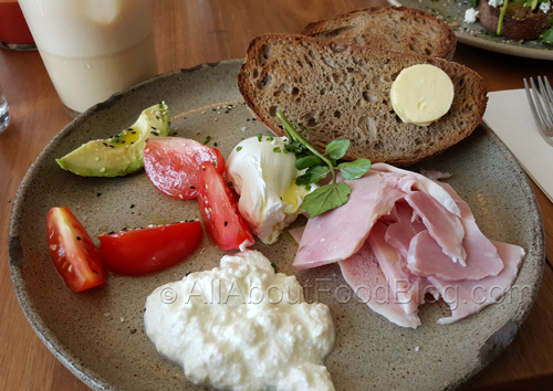 Breakfast plate of leg ham, ricotta, avocado, poached egg, tomato, toast - $16.90