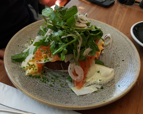 soft scrambled eggs, cured salmon, sorrel, yoghurt, fennel on toast - $18.90
