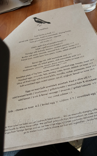 West Juliett menu