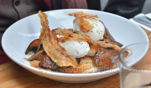 Mushrooms, Poached Eggs & Crispy Pancetta – $18