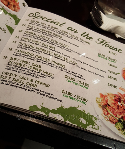 Why Thai Restaurant Menu