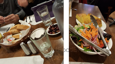 Entrée – Garden Salad ($5.00), Olives, Bread ($3.00)