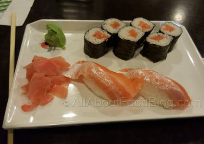 Salmon Nigiri Sushi - $4 and Salmon thin roll - $4.50