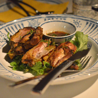 Gai Yaang - $14.00 – Char grilled turmeric and lemongrass marinated chicken with smoked chilli and tamarind relish