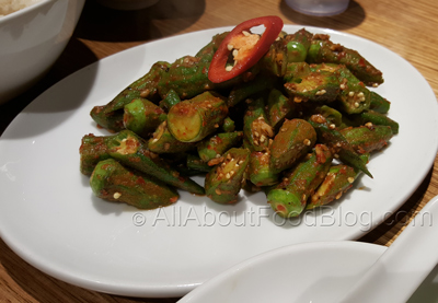 Okra Belacan - $14 – Stir-fried okra with chillies and shrimp paste.