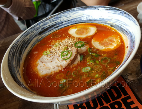 Ramen in spicy hot flavoured soup with roast pork, egg and shallots – $13.50