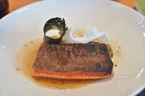 Ocean Trout, crisp skin, silken eggplant, roasted tea broth - $45