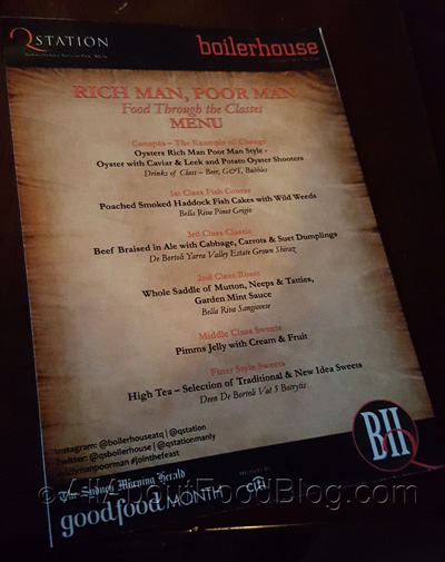 Rich Man, Poor Man menu