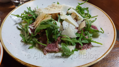 Seared beef fillet carpaccio - $18 – with button mushrooms, a la Greque, rocket, parmesan and truffle oil