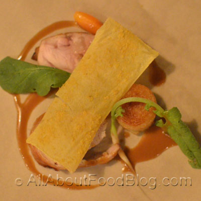 White rabbit saddle and leg, turnip, mustard and yeast, polenta