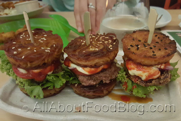 Ramen Burger from One Tea Lounge and Grill