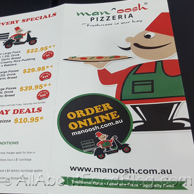 Manoosh Pizzeria Menu